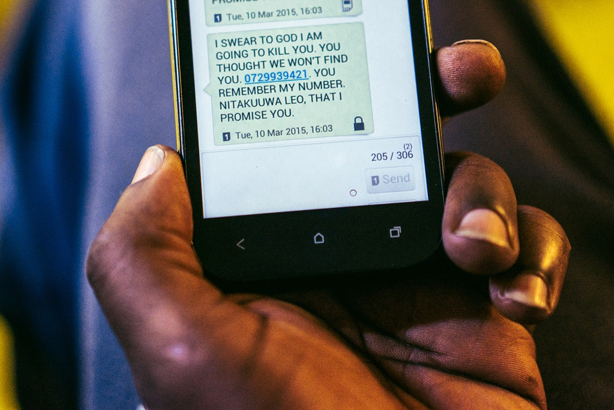 A text message a gay refugee from Uganda received from an unknown number