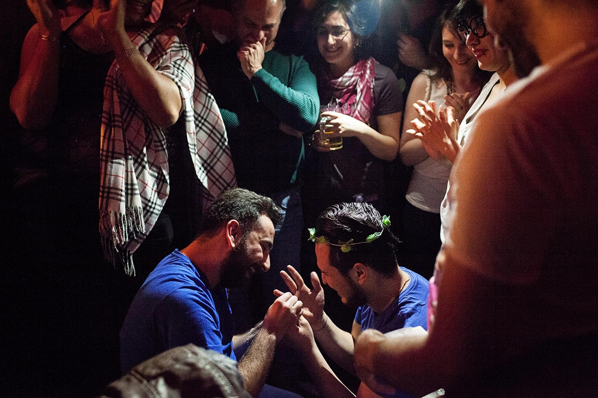 Nader proposes to Mr. Gay Syria contestant Omar at Omar's birthday party in Istanbul, Turkey.